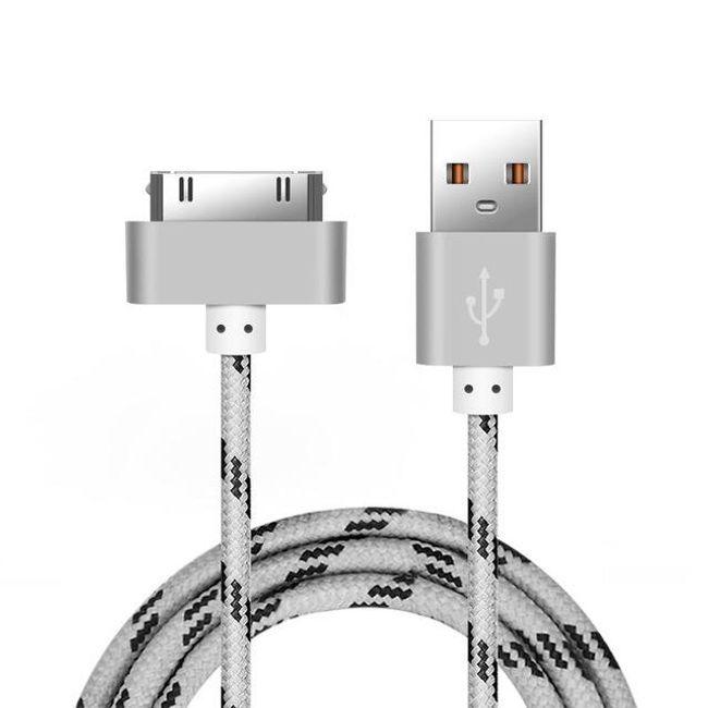 Rychlonabíjecí kabel pro iPhone 4/4s - pletený kabel, stříbrná (50 cm) 1