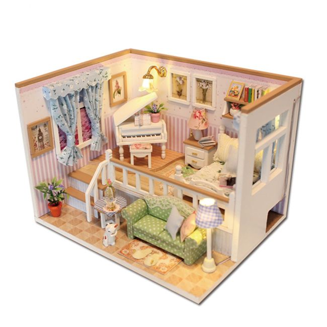 Vybavený domeček pro panenky - pokoj s osvětlením 1