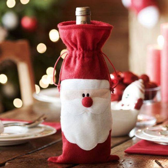 Веселая новогодняя декорация для бутылки с алкоголем 1