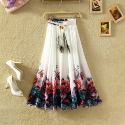 Lehká dlouhá letní sukně - bílá s květinovým vzorem