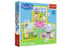 Puzzle 3v1 Prasátko Peppa/ Peppa Pig Šťastný den prasátka v krabici 28x28x6cm RM_89134849