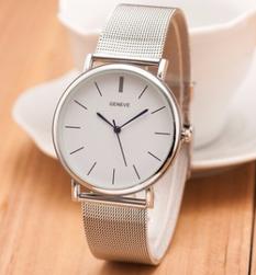 Dámské hodinky s kovovým páskem ve stříbrné barvě