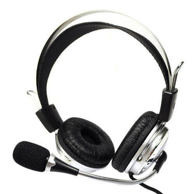 Sluchátka s mikrofonem pro PC - stříbrná 1