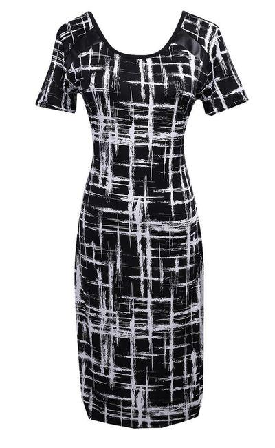 Elegantní dámské šaty s koženkovým zdobením na rameni - A-velikost č. 3 1