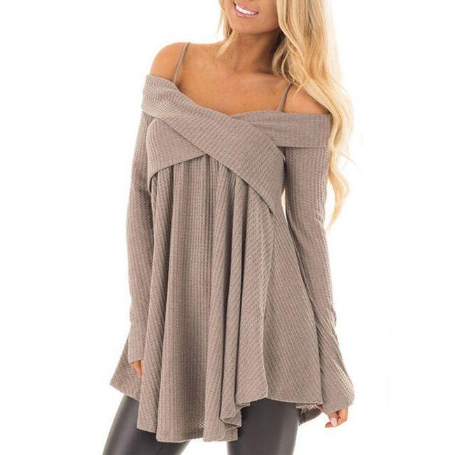 Ženski džemper sa otkrivenim ramenima - 3 boje 1