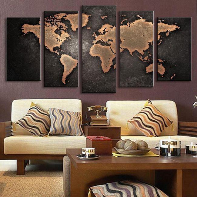 Slika od pet delova - mapa sveta 1