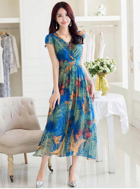 Květované šaty - modrá-velikost č. 4 1