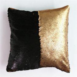 Povlak na polštář s flitry - měnící - zlatá barva