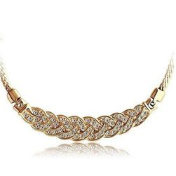 Dámský náhrdelník s luxusním zdobením - zlatá barva
