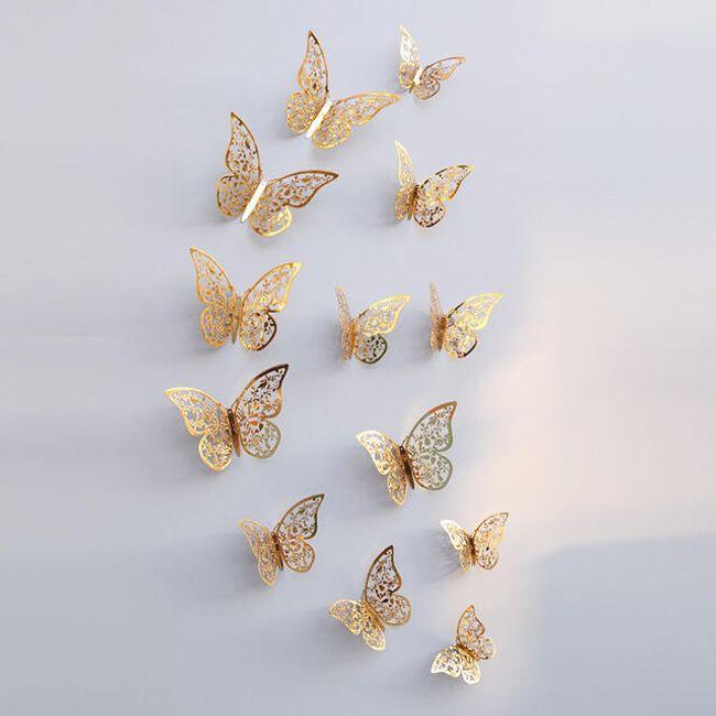 12 3D leptira za zid - 2 boje/3 veličine 1