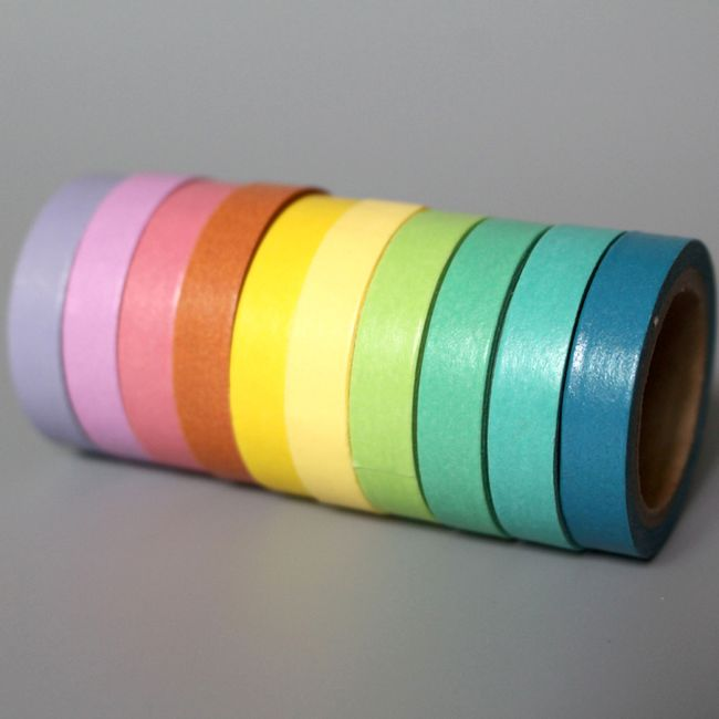 Duhové papírové lepící pásky - 10 ks 1