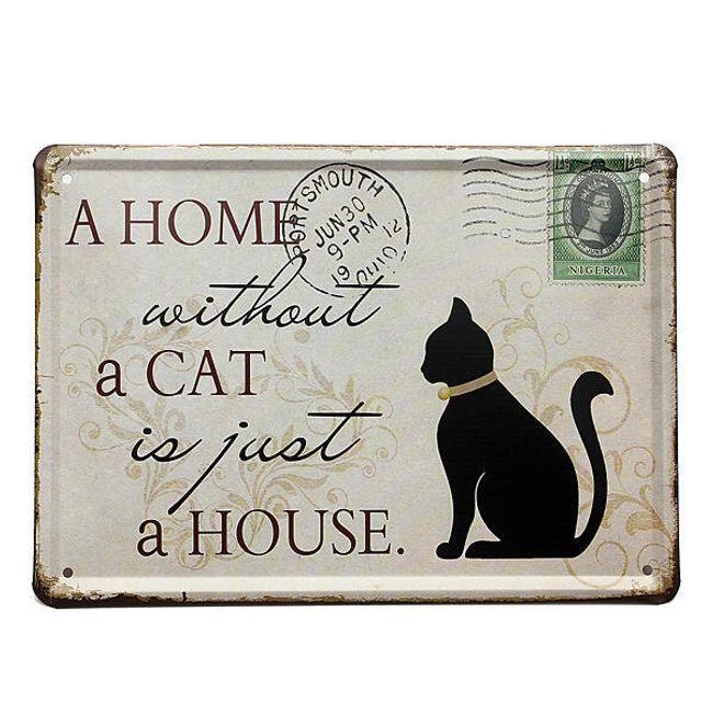 Ламаринена табелка за любителите на котки 1