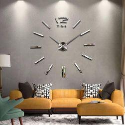Зеркальные 3D часы на стену