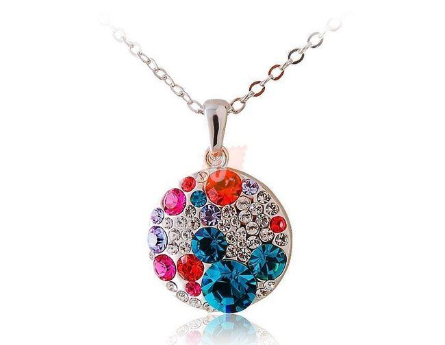 Náhrdelník s  barevnými kamínky - stříbrná barva 1