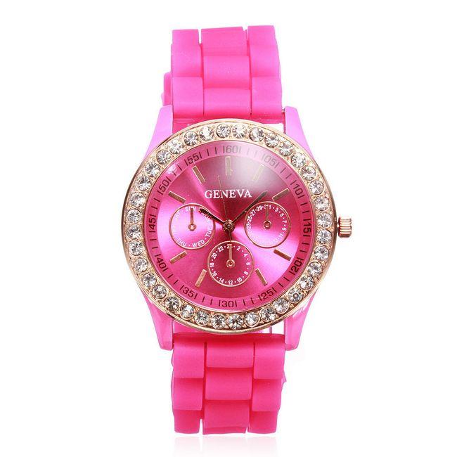 Ženeva silikonska ura v 11 privlačnih barvah - temno roza 1