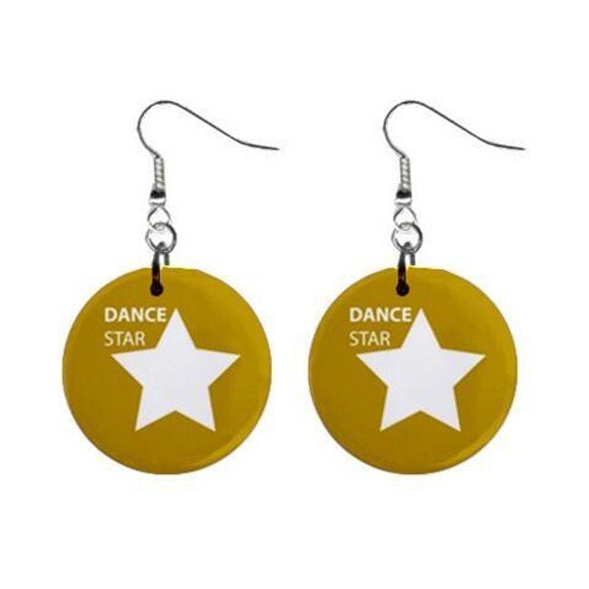 Круглые плоские серьги- Dance star 1