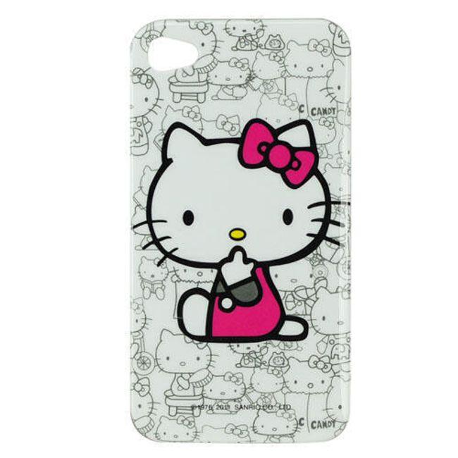 Plastový ochranný kryt na iPhone 4 a 4S - Hello Kitty bílý 2 1