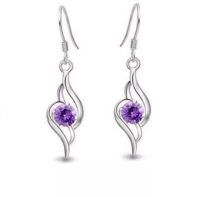 Elegantní náušnice s fialovým kamínkem 1