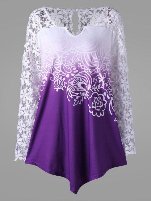 Elegantna asimetrična bluza sa cvetićavim rukavima 1