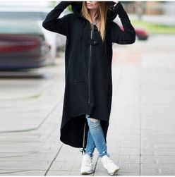 Hanorac stil palton Kaley negru-marimea 4