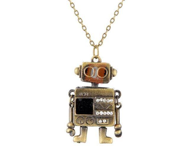 Náhrdelník s přívěškem robota - bronzová barva 1