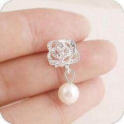 Dámske náušnice s kvetinou a perlou