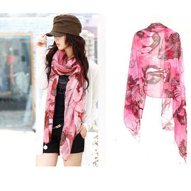 Dámská moderní šála - růžová 1
