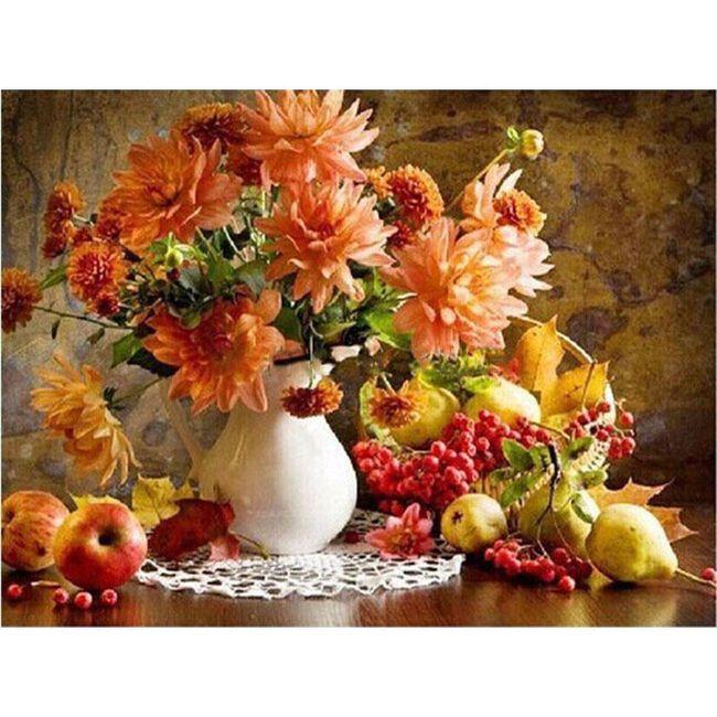 Slikanje z motivom vaze z rožami - slikanje po številkah 1