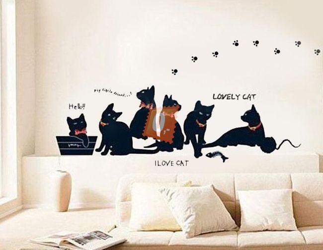 Samolepka na zeď - kočičí 1