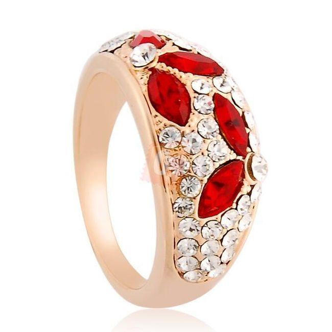 Prstýnek s červenými a bílými kamínky - zlatá barva 1