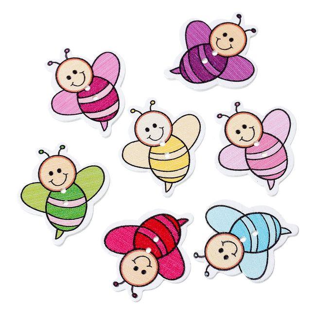 Dřevěné knoflíčky v podobě veselých včeliček - 6 kusů 1