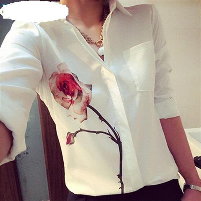 Dámská bílá košile s růží - různé velikosti 1