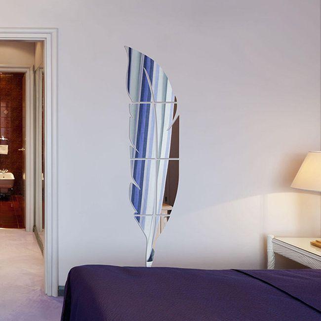 Zrcadlo na zeď ve tvaru pírka 1