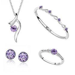 Zestaw biżuterii z kolorowymi kryształami