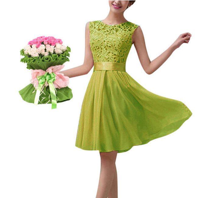 Dámské letní šaty s krajkovým topem - Zelená-velikost č. 6 1