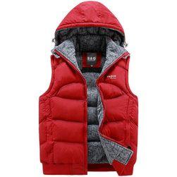 Prošívaná pánská vesta s kapucí - různé barvy