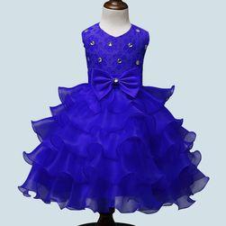 Dívčí šaty s kamínky a mašlí - 6 barev