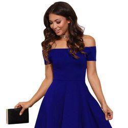 Ženska svečana haljina bez bretela - plava boja