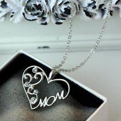 Naszyjnik z napisem MOM w srebrnym kolorze