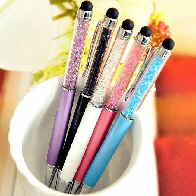Golyóstoll, 5 színű kristályokkal - tollként is használható 1