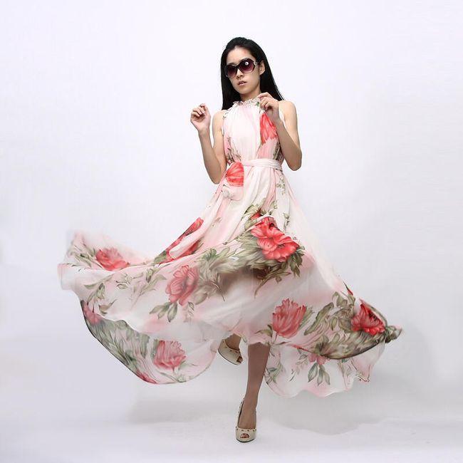 Ženska dugačka haljina sa motivima cveća 1