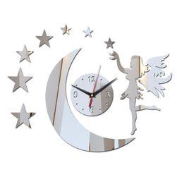 Nástěnné hodiny s vílou na měsíci - 3 barvy
