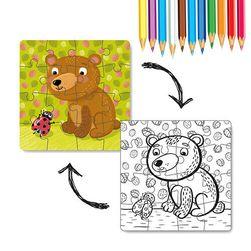 Puzzle s omalovánkou Medvídek 16 dílků RZ_240219