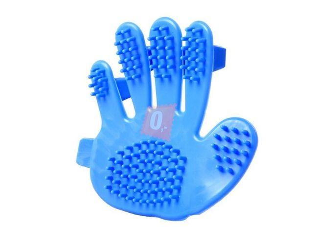 Szczotka do czesania i masowania zwierząt w postaci dłoni - niebieski 1