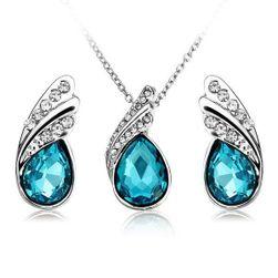 Set ogrlica i minđuša sa kamenčićima u obliku suze