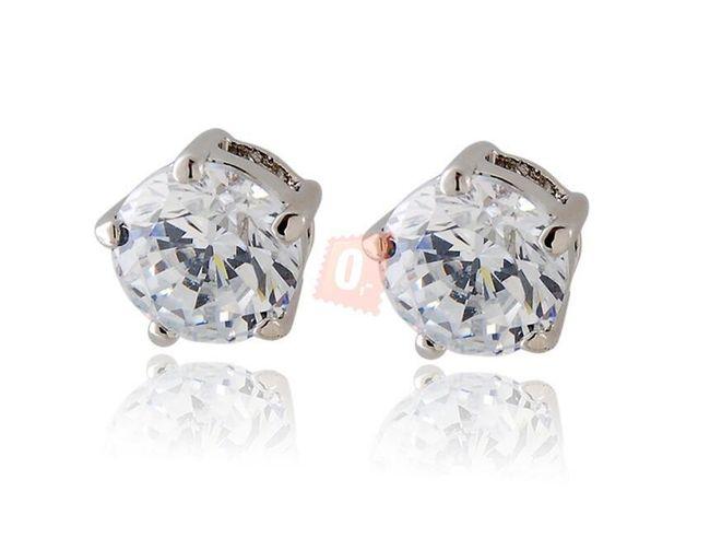 Krásné náušnice s kamínkem - stříbrná barva 1