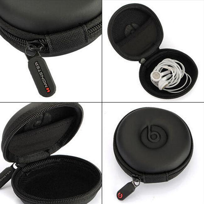 Pevné cestovní pouzdro na sluchátka a další drobnosti - černé 1