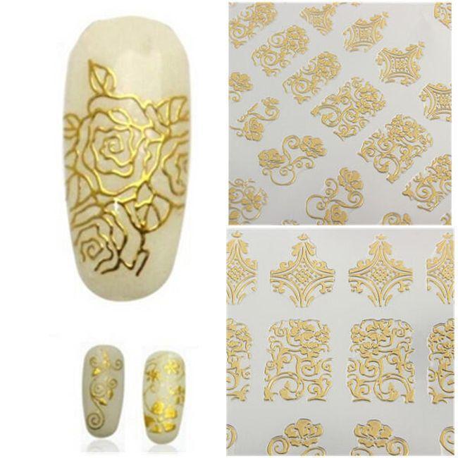 Köröm matricák - arany virág 1