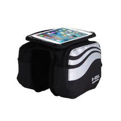 Kerékpáros táska telefon tokkal - ezüst színű