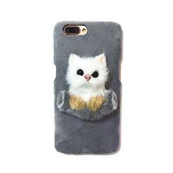 Плюшевый чехол для смартфона с кошечкой